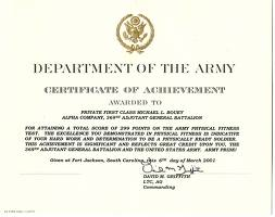 The Army Certificate Of Achievement  Certificate Of Achievement Sample