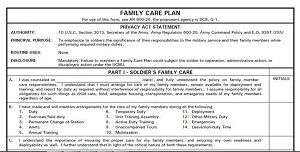 Army Family Care Plan DA Form 5305
