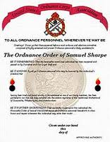 Army Ordnance Order of Samuel Sharpe