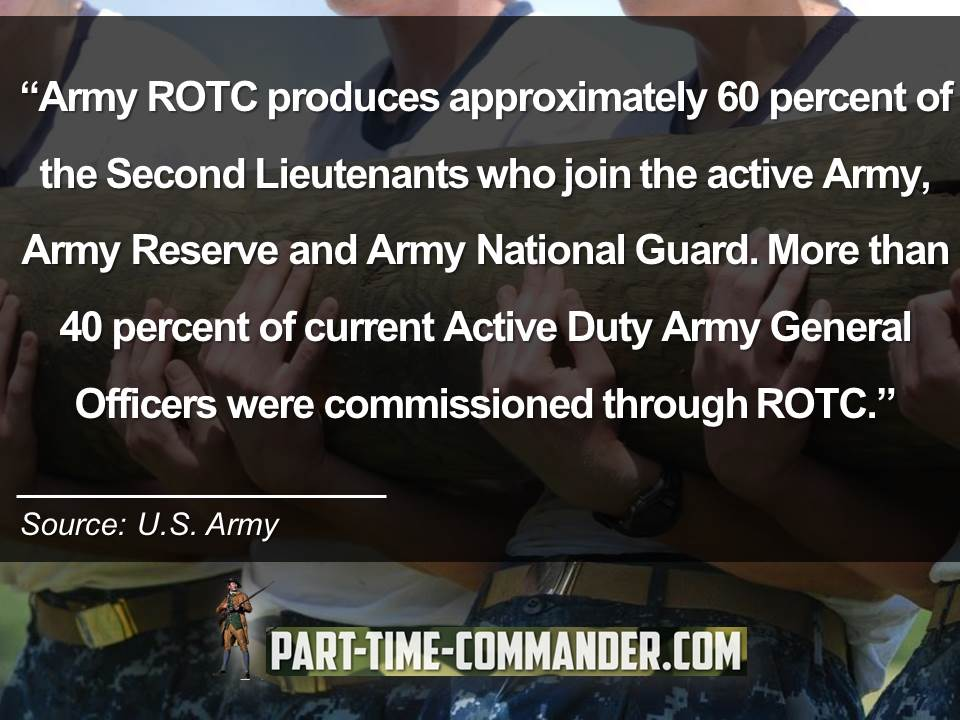 Army ROTC produces approximately 60 percent of the Second Lieutenants